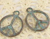 Patina Peace Sign Charm  Simple, Rustic, Mykonos Casting(4) - M28