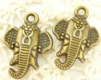 Antiqued Bronze Indian Elephant Head Charm (4) - A101