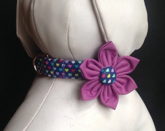 Dog Collar Flower Set - Tiny Colorful Hearts/size XS, S, M, L, XL