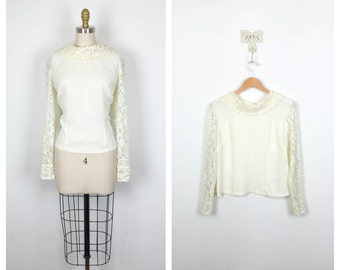 60s White Boxy Lace Trimmed Blouse • 1960s Ivory Long Sleeve Top • Sheer Vintage Shirt • Large • XL