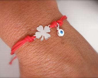 Lucky silver clover bracelet with evil eye dangle - lucky bracelet - 4 leaf bracelet - protection bracelet - evil eye bracelet -