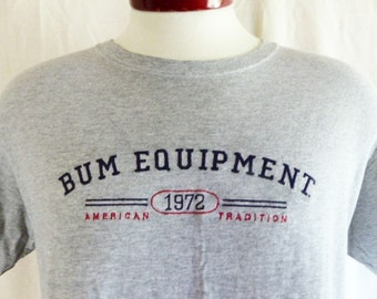 vintage 90's B.U.M. Equipment american tradition 1972 heather grey graphic t-shirt red navy blue embroidered logo medium