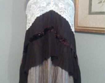 Upcycled clothing L-XXL lagenlook magnolia pearl inspired dress/tunic shabby chic lace dress Boho dress tattered tunic prairie chic dress