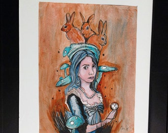 """Original Acrylics and Ink Drawing of Surreal Girl with Rabbits 8x10"""" by Chris Jay"""