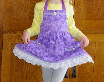 Little Girl Purple Apron with Lace - Spring Girl Apron - Retro Girl Apron Size 5 to 6