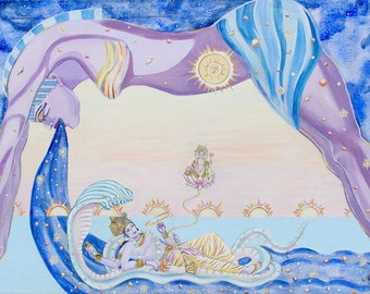 Lord Vishnu and Our Lady of the Cosmos Giclee Print from the Original Painting