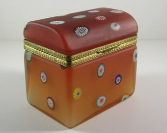 Grand Millefiori Cane Dome Top Amber Glass Casket / End of Day Glass Dresser Vanity Jewelry Trinket Box / Hinged with Dore Ormolu Mounts