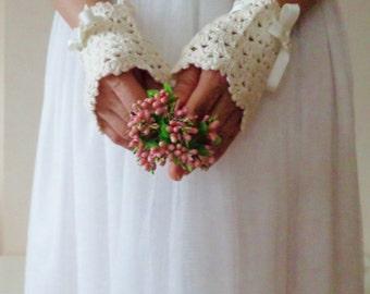 Wedding Crochet Gloves.