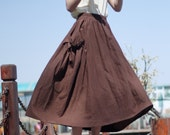 brown linen maxi skirt---Irregular  skirt