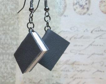 Handmade Book Earrings, Leather Book Jewelry, Miniature Book Earrings, Blank Book Earrings, Book Lovers Jewelry, Leather Book Charm Earrings