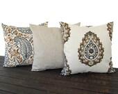 Pillow Set, Throw Pillow, Pillow Cover, Cushion, Decorative Pillow, Caramel Brown Cream Gray traditional contemporary modern decor