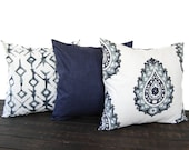 Set of three Throw Pillow covers, Pillow Covers, Cushion, Decorative Pillow, Vintage Indigo Blue White contemporary geometric modern decor