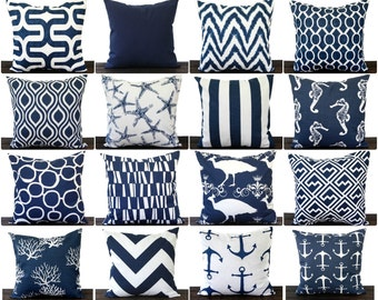Navy Blue pillow cover One cushion cover in New Navy and white throw pillow ocean beach decor