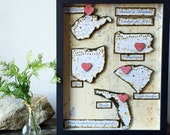 Travel Map - Anniversary Gift  Men -  Shadow Box - Personalized Map Gift