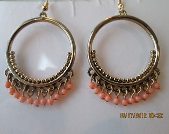 Deep Gold Tone Hoop Earrings with Tiny Orange Bead Dangles