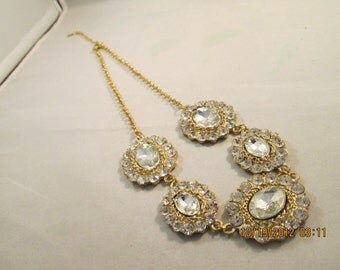 Gold Tone Chain Necklace with Clear Rhinestone and Crystal Pendants