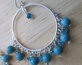 Silver Tone Hoop  Earrings with Turquoise Beads and Blue Rhinestone Dangles Dangles