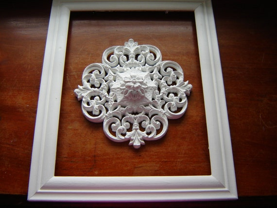 Vintage Homco Medallion Wall Decor Upcycled White Decor Home