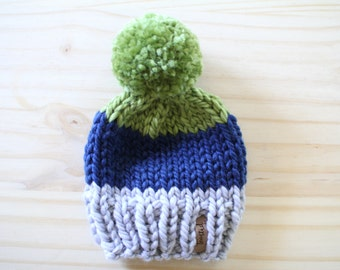 Seahawks Team Color Block Beanie // Chunky Knit Hat // Slouchy Beanie // Pom Pom // Cozy // Newborn // Baby // Toddler // Child