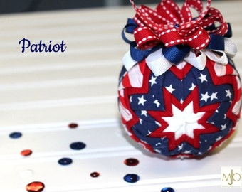 Patriot  Red, White and Blue Quilted Patriotic Ornament