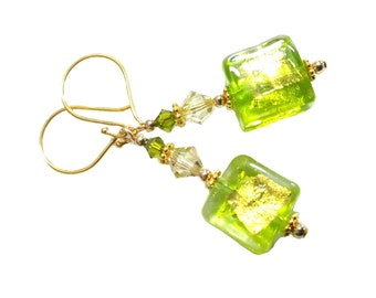 Peridot Green Tosca Square Gold Splash Murano Glass earrings, Luminous green and Olivine Swarovski crystals, Vermeil beads and earwires