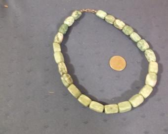 Vintage green stone, probably Amazonite (A type of Feldspar) necklace.