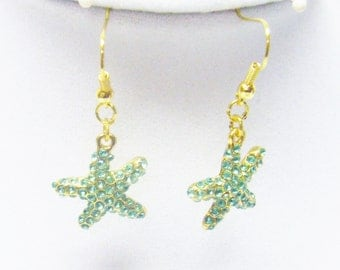 Gold Plated Star Fish w/Green Rhinestones