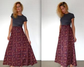 vintage 70s boho maxi skirt 1970s long flowy skirt hippie skirt high waist skirt bohemian skirt print skirt ethnic skirt country western S