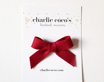 """SALE Baby / Girls Felt Bow Headband OR Hair Clip """"Crimson"""" -Premium Wool Felt Bow by charlie coco's"""