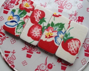 Jumbo Merry Magnets featuring Vintage Strawberry Fabric