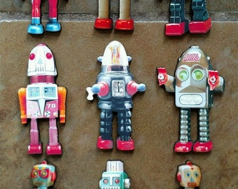 Retro Robots! Robot army! Set of 9 different laser cut images Spaceman tin toys birhday party favors
