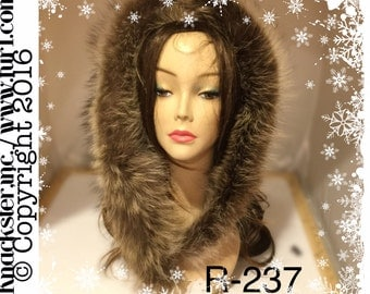 R-237 Genuine Brown Black raccoon fur Ruff Trim for Jacket Hood 39""