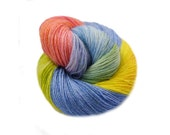 Hand painted hand dyed Sock yarn Fingering with Cotton - hand-dyed sockyarn rainbow pastel for socks  wonderful for spring and summer