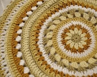 Crochet Stool Cover Mandala Granny Square Beige Tan White Linen Ready to Ship Shabby Cottage Boho Littlestsister