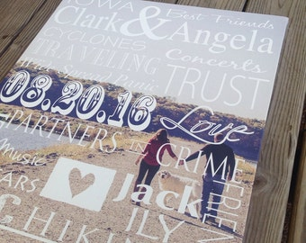 Valentine's Day for the new couple, Custom Canvas Family story with photo, modern typography wall art **NEW design**