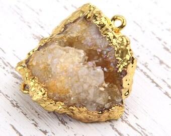 Gold/Light Brown, Druzy Quartz Gemstone Connector, Gold Dipped, 1 piece // GC-400