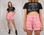 Hot Pink High Waist Denim Cuff Shorts Jean