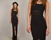 80's Black Bodycon Maxi Dress w/ Mesh Cut Outs