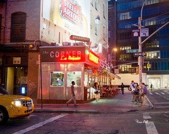 "La Esquina NYC - ""The Corner"" at night. Manhattan New York City Original Soho photograph / print."