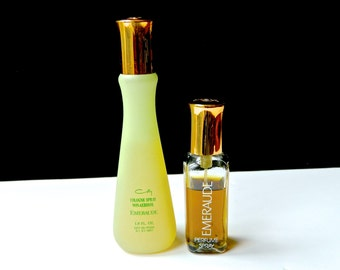 2 Vintage EMERAUDE Perfume Coty Pure Perfume Spray  1 oz Eau de Cologne Spray 1.9 oz Both Fresh