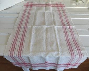 Free Shipping Danish  Rustic Handwoven  Linen  Large Towel Red Stripes Kitchen  Dish Cloth Napkin  Wrap  Runner Antique Denmark Monogram