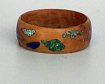 Wood Bangle/Bracelet with Turquoise, Lapis,  Malachite and Stichtite