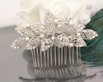 Pearl hair piece,Wedding hair comb,Bridal headpiece vintage,Wedding hair accessories,Bridal hair jewelry,Wedding comb,Bridal hair clip,Pearl