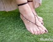 Black silver drops barefoot sandal. Crochet  barefoot sandles. Beach wedding foot jewelry. Sexy foot thong