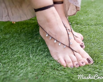 Black silver drops barefoot sandal. Crochet  barefoot sandles. Beach wedding foot jewelry. Sexy foot thong