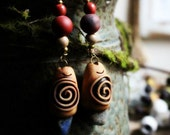 Wild Woman Spiral Earrings. Clay & Gemstone. Clay with Healing Gemstone and Crystal Jewelry.