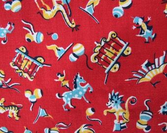 Vintage Circus Fabric - 1950's Children's Fabric - Circus Animal Fabric - Nursery Fabric - Circus Quilting Fabric -  Free Shipping - 4ATT16