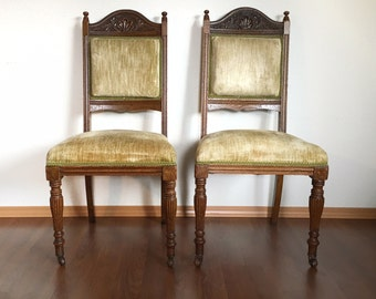 pair of vintage Eastlake chairs with green velvet upholstery. antique Victorian furniture.