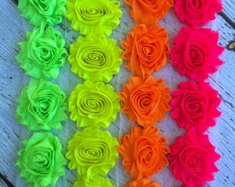 Shabby Chiffon Flower Trim - Your Choice of Color And Quantity! NEON SCHEME - 1/2 yard or 1 yard - Green - Yellow - Orange - Pink - Neon