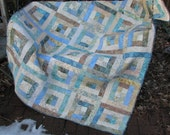 Lap Quilt, Sofa Quilt, Quilted Throw - Spring Melt in Beige, Tan and Teal Batik Lap Quilt